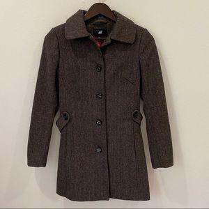 H&M | Wool Blend Tweed Herringbone Pea Coat